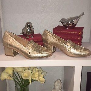 Franco Sarto gold loafers NWOB